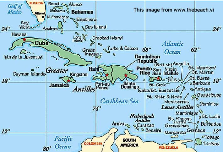 US Virgin Islands Maps And Location - Us map with virgin islands